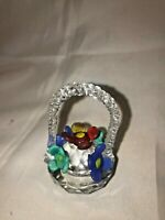 Vintage Small Crystal Basket of Flowers Paperweight - Beautiful Condition
