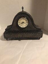 Vintage Wood/Wicker Style Mantle Clock