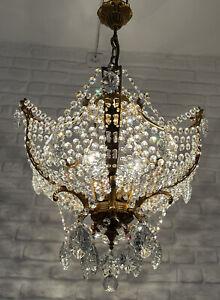 Antique Vintage Brass & Crystals Stunning Chandelier Lighting Ceiling Lamp