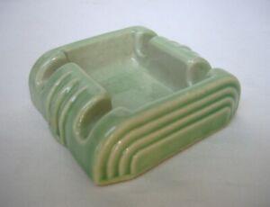 Vintage Harry Sanders Never Spill Art Deco Ashtray in Green
