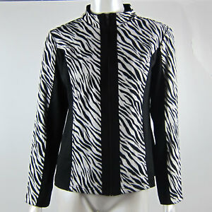 Long Sleeved Zebra Black White Striped Jacket Zip Up Size XS Weekends by Chico's