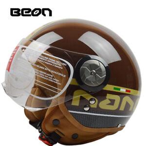 BEON B110 Open Face 3/4 Vintage Motorcycle Helmet Motorbike Retro Half Helmets