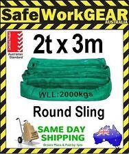 2 Tonne 3 Metre Round Lifting Sling Green Polyester Rigging Australian Standards
