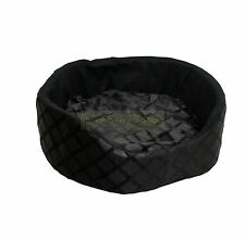 ROUND WASHABLE PET DOG PUPPY CAT BED CUSHION SOFT WARM BASKET BLACK  SMALL