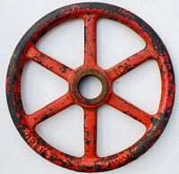 """Large 16"""" Antique Fire Engine Red Water Valve Iron Wheel Steampunk Industrial"""