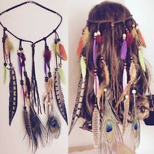 Ladies Indian Feather Beaded HeadBand Boho Tassel Hair Accessories Hair Band