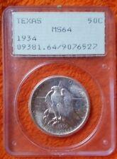 1934 TEXAS COMMEMORATIVE SILVER HALF DOLLAR PCGS MS64