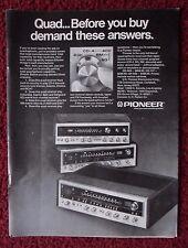 1973 Print Ad Pioneer QX-949, QX-747, QX-646 Quad Recievers ~ Demand Answers