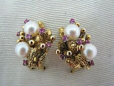 a1025 Vintage - 14k Gold - Pearl and Ruby Clip-On Earrings