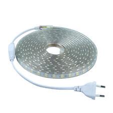 Tira LED 220v 5050 60 Led/m Impermeable Ip65 Con enchufe Cálido Frío ONSSI LED