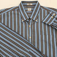Peter Millar Men's Large Striped Button-Down Casual Shirt Brown Blue White