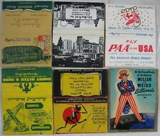 8 1940's 40 Strike Bob Tail Matchbooks Uncle Sam Crane Pan American Kroehler