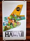 Vintage Continental Moves Its Tail To Hawaii Graphics Travel Poster Original
