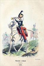 TROMPETTE des Chasseurs à cheval en 1848 (Louis-Philippe) - Gravure en couleur