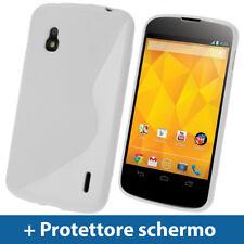 Bianco Custodia Dual Tone TPU Gel case per LG Google Nexus 4 E960 Android