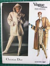 Vogue Designer Christian Dior Winter Coat pattern for Women size 12