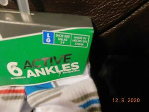 Fruit Of The Loom Active Ankle Socks---Size L---Shoe Size 3-9