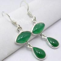 "925 Sterling Silver Beautiful GREEN ONYX 2 Gemstone BESTSELLER Earrings 1.5"""