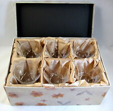Star of David 6 Cocktail Sherbet Goblets Deeply Cut Crystal in Storage Box