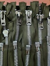 """10-ZIPPERS/USA Vtg """"SCOVILL"""" M-51 M-65 ARMY/MILITARY OD JACKET METAL REPLACEMENT"""