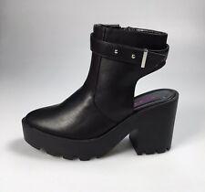 Dolcis Black Chunky Platform Open Back Ankle Boots Size UK 6