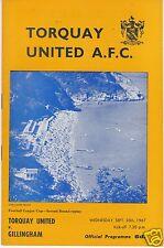 TORQUAY UNITED V GILLINGHAM  LEAGUE CUP  20/9/67