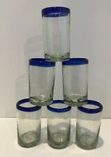 Mexican Juice Glasses Clear Cobalt Blue Rim Hand Blown set of 6 Kitchen/Bar Ware