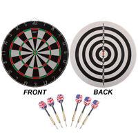 18x1-Inch Tournament Regulation Size Double-Sided Dart Board w/6 Steel Tip Darts