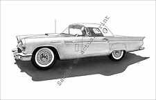 1957 Thunderbird with Wire Wheels & Porthole drawing/print/picture 57 T-Bird