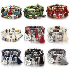 Boho Fashion Natural Stone Multilayer Tassel Beaded Bracelet Womens Jewelry Gift