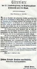 Alter Druck Circulare Rundschreiben 1837 Wien Felner Nummerierung Wasserfässer