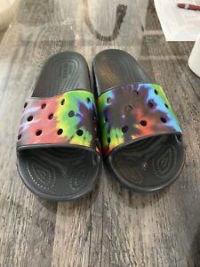 womens Tie Dye croc sandals size 8