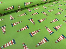 Stoff Baumwolle Jersey Leuchtturm Maritim Anker grün rot weiß blau Kinderstoff
