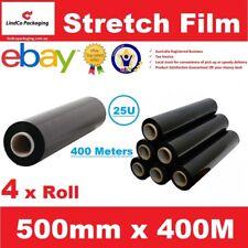4 x 500mm x 400m Meter - BLACK - Hand Stretch Film Pallet Shrink Wrap Roll 25UM