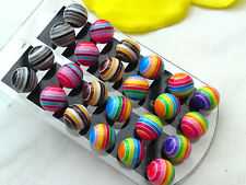 Bunte Ohrstecker Perlen Ohrringe Streifen Kugel 10mm Acrylperlen Farbwahl