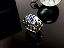 Men's Wedding Band With Natural Blues Sapphires By Sacred Angels