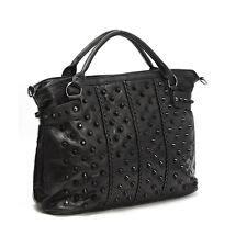 Luxury Women's Bag Lambskin Real Leather Studded Black Tote & Cross Handbag