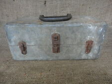 Vintage Distressed Metal 2 Trays Fishing Tackle Tool Box
