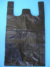 100 Qty. Black Plastic T-Shirt Retail Shopping Bags w/ Handles Medium 15x7x26''
