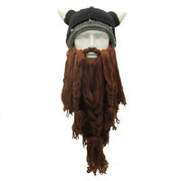 Wig Knitted Funny Crazy Viking Hat Long Beard Barbarian Beanie Ski Mask Caps New