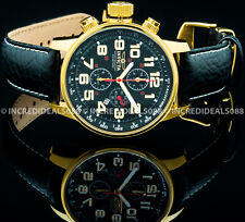 Invicta Mens I Force Lefty Chronograph 18Kt Gold Black Dial Leather Strap Watch