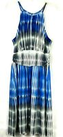 Maggy London Women's Halter Neck Dress size 12 Blue White Gray Sleeveless 58K
