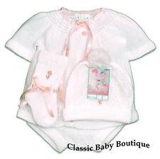 NWT Will'beth White Pink Knit 4pc Diaper Set Baby Girls Hat Booties Newborn