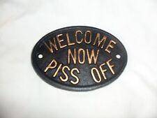 Welcome Now PlSs Off Black Cast Iron Metal Outdoor Door Garden Plaque Dirty Word