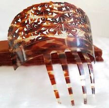Large Mantilla Hair Comb Antique Carved Faux Tortoise