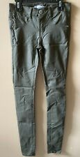 Almost Famous Junior's Size 5 Army Green Coated Low/Mid Rise Skinny Jeggings Euc