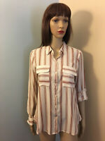 EXPRESS XS 0-2 Ivory Rust Poly Viscose Striped BUTTON SHIRT TOP Convertible LS