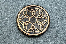 Wood 6 Knots Intertwined New #118 Celtic Brooch Pin Laser Engraved Jewelry Birch