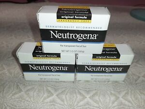 3 Bars Neutrogena Transparent Face Cleansing Bar - 3.5oz.