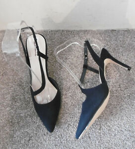 Linzi Navy Blue Pointed Strappy Heeled Shoes, Size UK 5 EU 38